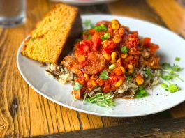 Little Red Market Cafe Mortlach Jumbalaya Corn bread