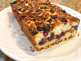 Sour Cream Saskatoon Berry Coffee Cake