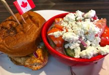 Cajun Chicken Burger Greek Salad Canadian Brewhouse Moose Jaw