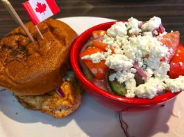 Cajun Chicken Burger Greek Salad Canadian Brewhouse Moose Jaw